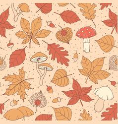 autumn pattern with oak maple leaves acorns vector image