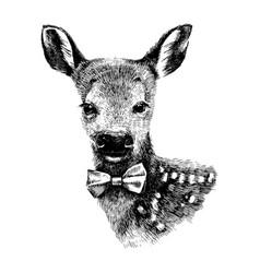 Baby deer hipster vector