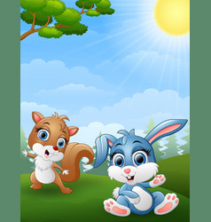 baby squirrel and baby rabbit cartoon in the jungl vector image