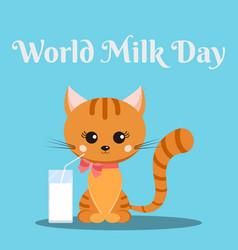 Beautiful background banner design for world milk vector