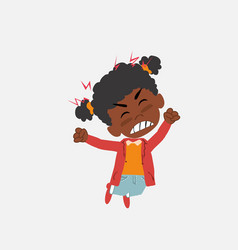 Black girl jumps angry vector