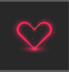 blank valentine card red heart glowing neon vector image