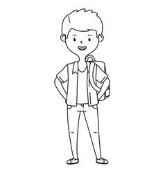 Boy cartoon school design vector