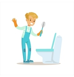 Boy In Gloves Cleaning Toilet With Brush Smiling vector