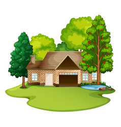 Brick house in lawn vector