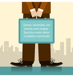 Briefcase in man hands of businessman vector image