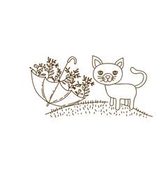 Brown contour graphic of cat in hill and umbrella vector