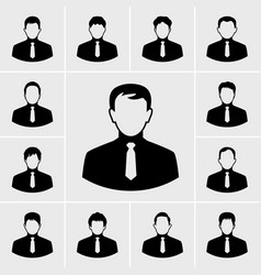 business man in suit icons set vector image