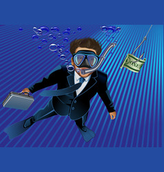 businessman takes the bait to the hook vector image