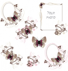 butterfly frames vector image vector image