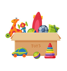 cardboard box with various colorful toys plastic vector image