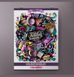 Cartoon hand drawn doodles holiday poster design vector