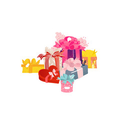 cartoon present gift box ribbon bow heap vector image