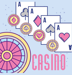 Casino roulette aces poker cards and chips vector