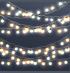 christmas glowing garlands vector image
