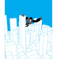 city and gorilla abstract skyline and monster vector image