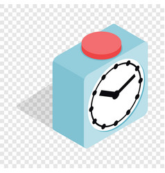 clock with red button isometric icon vector image
