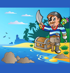 coast with young cartoon pirate 2 vector image
