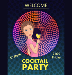 Cocktail party with girl vector