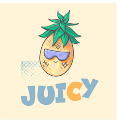 cool cute summer pineapple with sun glasses and vector image