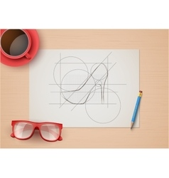 Creative workplace of fashion designers Top view vector