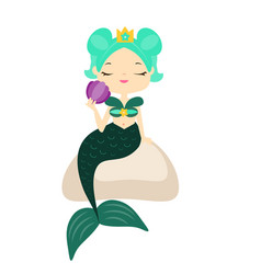 Cute cartoon mermaid sitting on stone holding vector