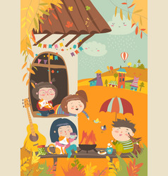 cute friends sitting around bonfire at backyard vector image