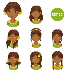 Cute little african girls with various hair style vector