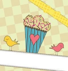Cute Muffin with Birds vector image
