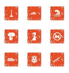 Dangerous work icons set grunge style vector