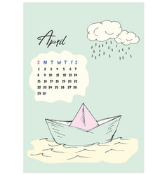 doodle paper boat and cloud with rain vector image
