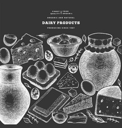 farm food design template hand drawn dairy vector image