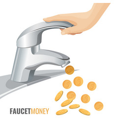 Faucet money commercial banner with modern tap vector