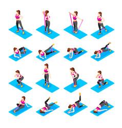 Female exercises icon set vector