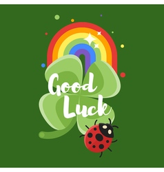 flat style of rainbow and clover vector image