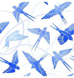 flight swallows - watercolor pattern vector image
