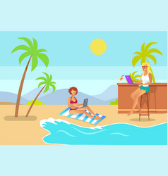 freelance aspect women on beach freelancers vector image
