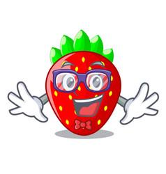 geek strawberries fruit in wooden bowl cartoon vector image