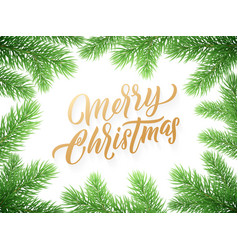 gold christmas card lettering on white background vector image