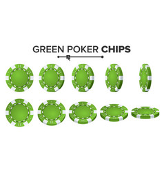 green poker chips realistic set poker vector image