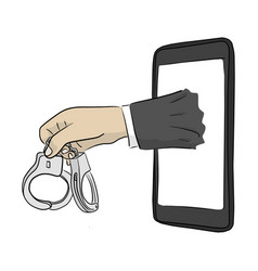 Hand businessman holding handcuff with mobile vector