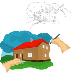 Hand drawing house vector