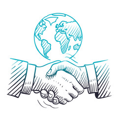 hand drawn handshake international business vector image