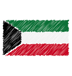 hand drawn national flag of kuwait isolated on a vector image