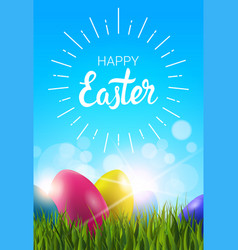 happy easter greeting card with colorful easter in vector image