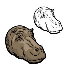 hippopotamus head icon wild african hippo animal vector image