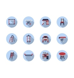 Home care flat round icons vector image