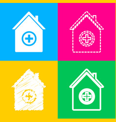 hospital sign four styles of icon on vector image