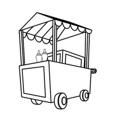 Hot dog cart vector