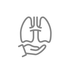 Human lungs on hand line icon healthcare medical vector
